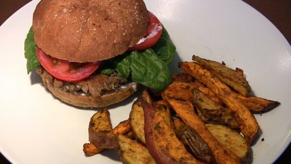 Lentil and Brown Rice Burgers with Baked Fries