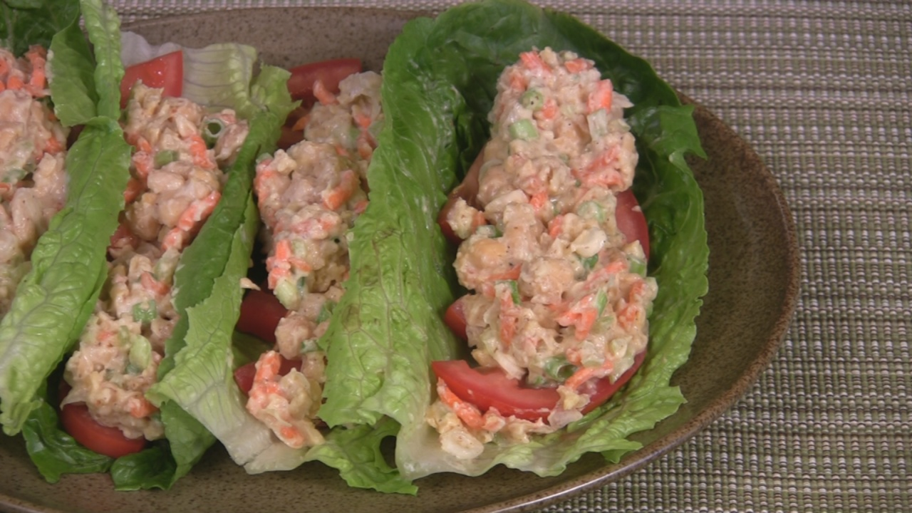 Chickpea Salad Romaine Wraps