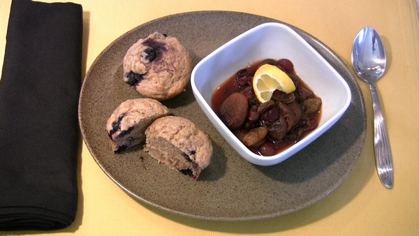 Banana-Blueberry-Walnut Muffins with Fruit Compote