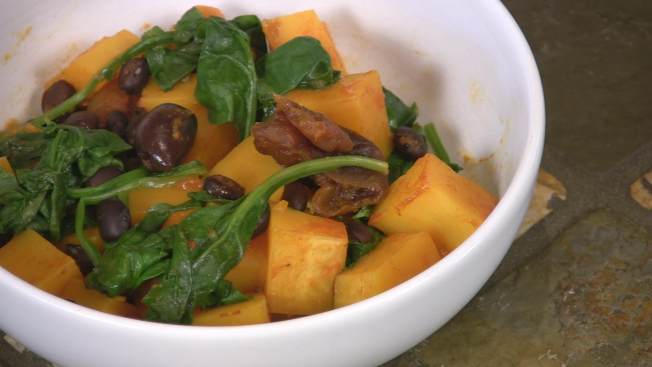 Spiced Butternut Squash with Black Beans, Apricots & Olives