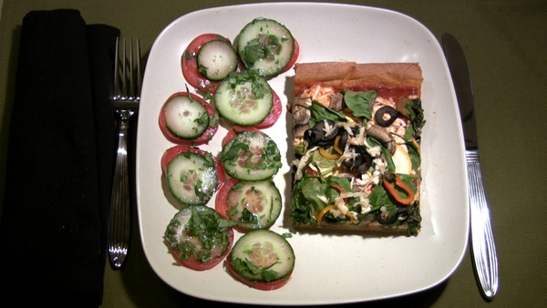 Whole Wheat Pizza and Tomato and Cucumber Salad
