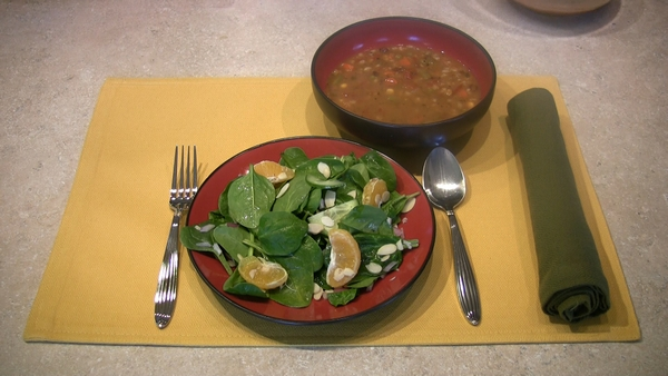 Minestrone Barley Soup with Spinach Citrus Salad