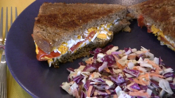 Toasted Cheese Sandwich and Coleslaw