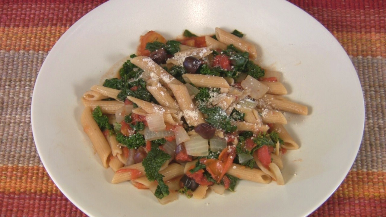 Penne with Kale, Tomatoes and Olives